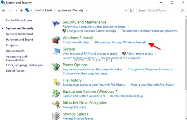 Select Allow an app through Windows Firewall