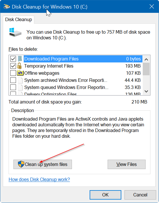 Click select Clean up system files