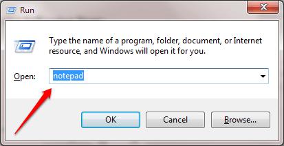 Mở Notepad