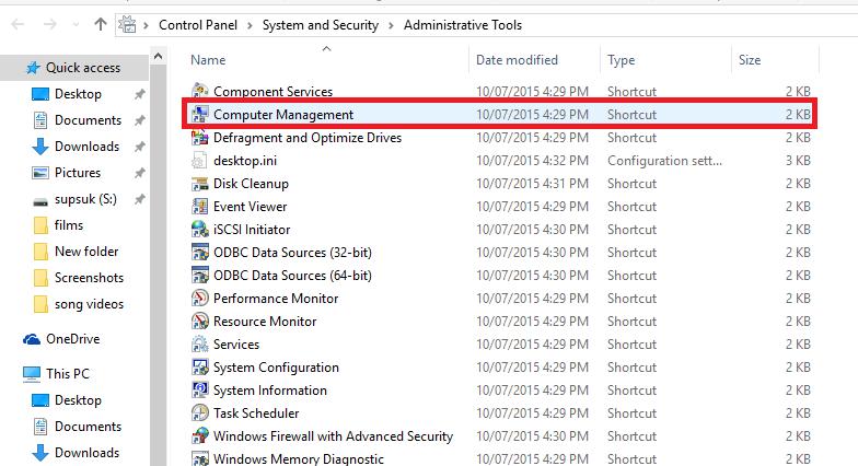 kích đúp chuột vào tùy chọn có tên là Computer Management