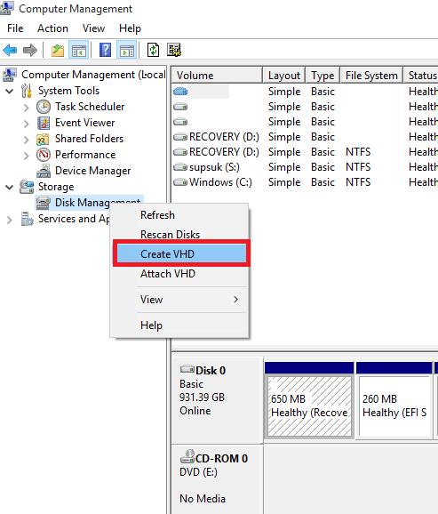 kích chuột phải vào Disk Management và chọn Create VHD