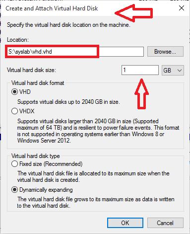tìm đường dẫn mà bạn muốn lưu file VHD