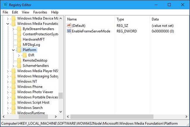 Đặt tên cho value mới này là EnableFrameServerMode