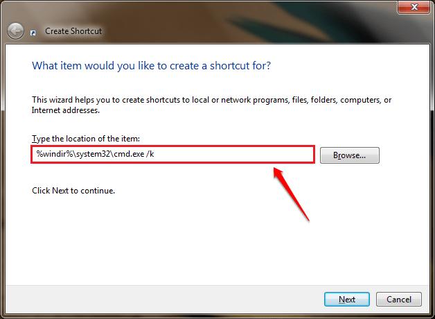 Sử dụng Command Prompt để mở vị trí thư mục cụ thể trên máy tính Windows
