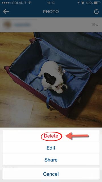 click chọn Delete