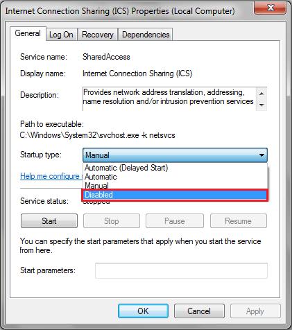 Hướng dẫn tắt Internet Connection Sharing trên Windows
