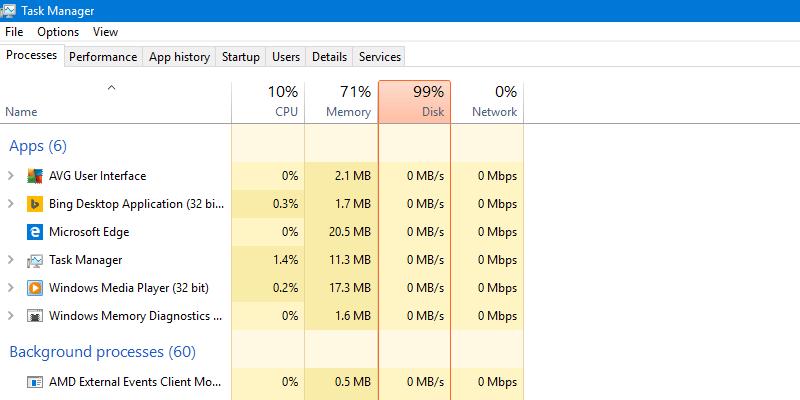 Lỗi Full Disk 100% khi xem trong Task Manager