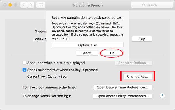 Hướng dẫn thiết lập đọc nội dung văn bản trên máy Mac