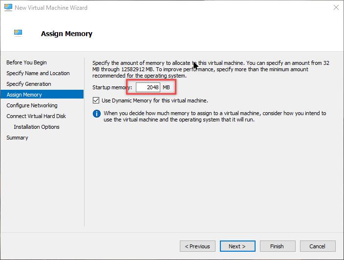 nhập dung lượng bộ nhớ mà bạn muốn cung cấp cho hệ điều hành