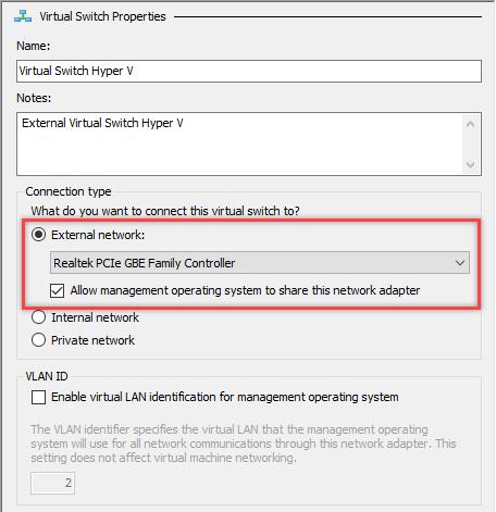 Đặt tên cho Virtual Switch của bạn rồi chọn kiểu kết nối là External network