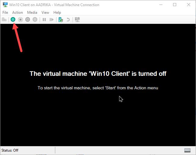 click chọn biểu tượng nút Nguồn để mở máy ảo