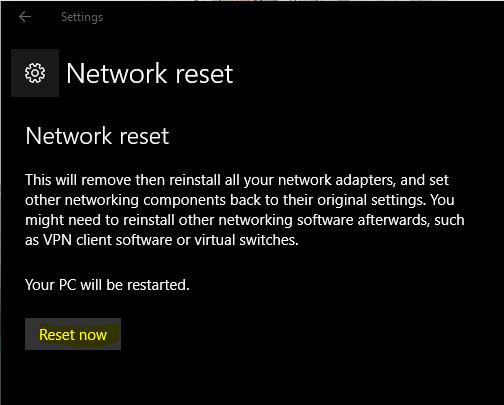 chọn Reset Now để xác nhận