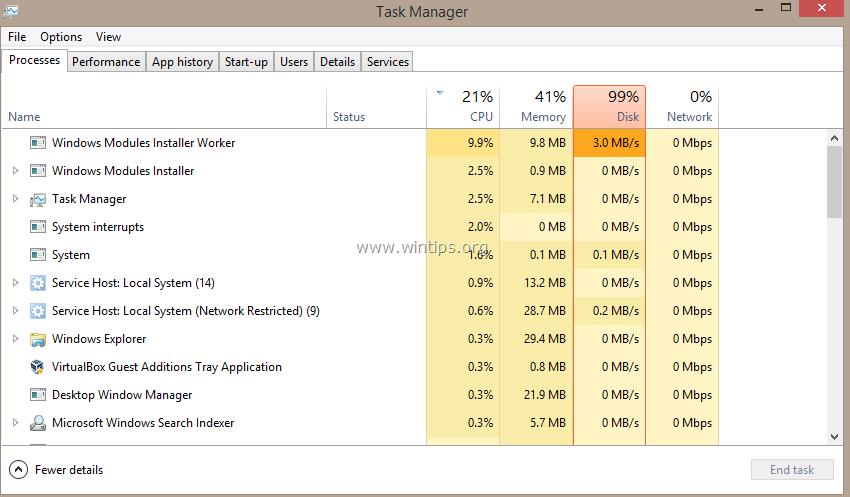 lỗi CPU cao bất thường trên hệ thống