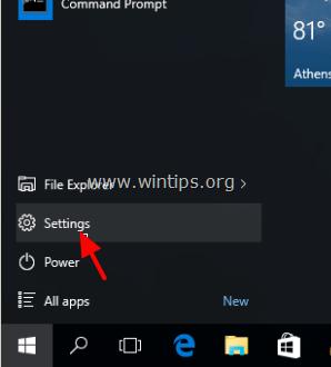 Click chọn nút Start rồi click chọn Settings để mở cửa sổ Settings