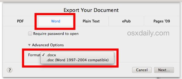 Cách mở file docx trên Mac OS X không cài đặt Microsoft Office