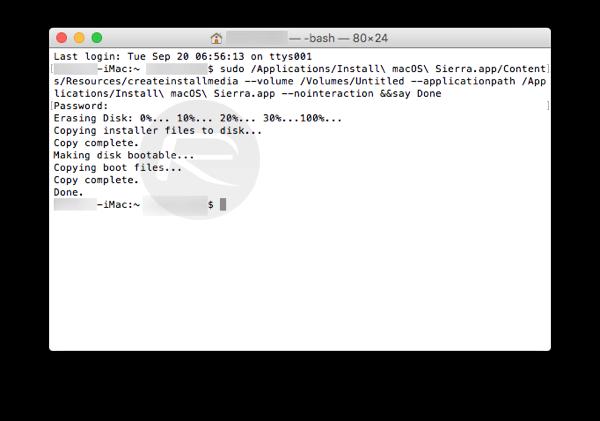 Cách tạo ổ USB cài đặt macOS Sierra 10.12