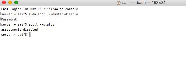 Tắt Gatekeeper trên macOS Sierra