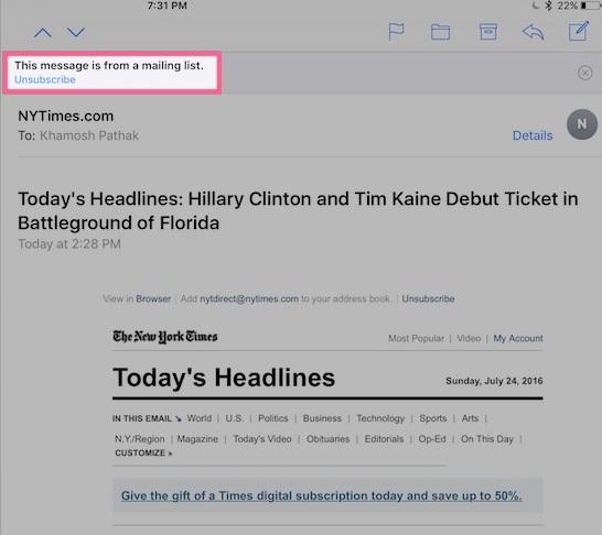 Có điều gì mới trên ứng dụng Mail iOS 10?