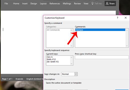 Cách tự thiết lập phím tắt trên Microsoft Word 2016