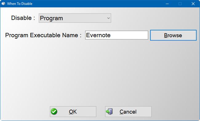 Vô hiệu hóa một phím bất kỳ cho một chương trình cụ thể