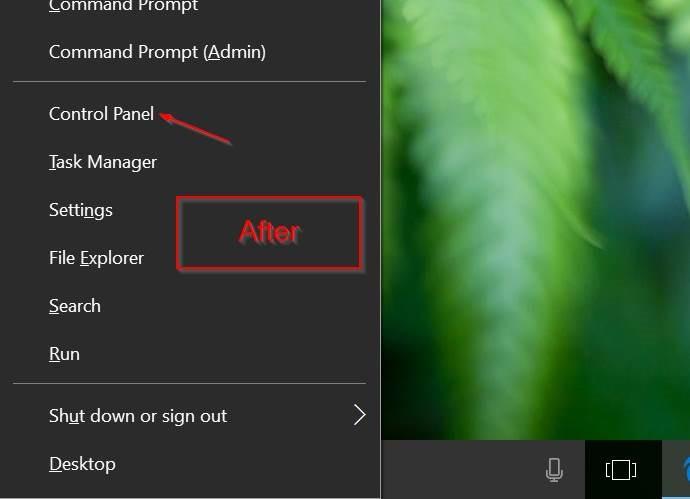 Cách thêm Control Panel vào Power User Menu (Windows + X) trên Windows 10