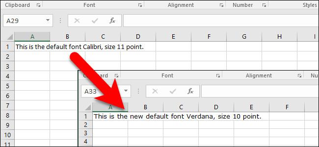 Cách thiết lập font chữ mặc định và kích thước font chữ trên Excel