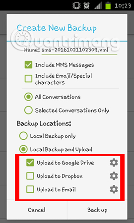 Cách sao lưu tin nhắn SMS bằng SMS Backup and Restore