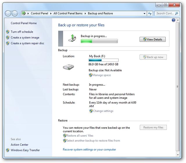 Sử dụng Backup và Restore trên Windows 7 như thế nào?