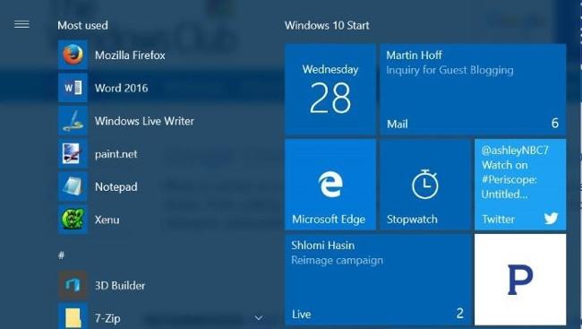 Ghim tài khoản Email vào Start Menu trên Windows 10