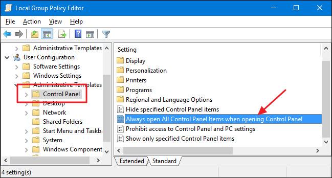Thay đổi kiểu xem mặc định của Control Panel trên máy tính Windows