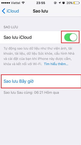 Sao lưu dữ liệu trên iCloud