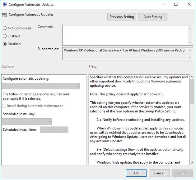 Cách tắt cập nhật Windows bằng Group Pololicy Editor