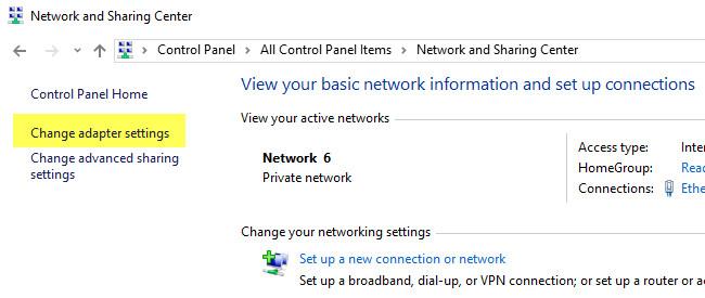 Cấu hình lại địa chỉ IP tĩnh