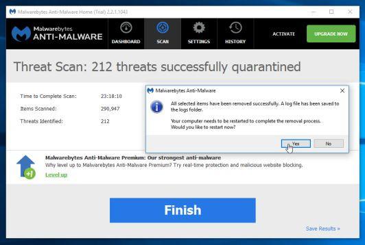 Trong quá trình loại bỏ các tập tin này, có thể Malwarebytes Anti-Malware sẽ yêu cầu khởi động lại máy tính để hoàn tất quá trình.
