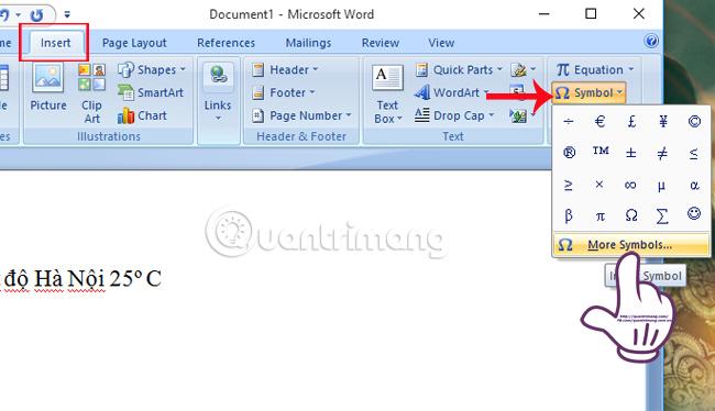 Chèn biểu tượng độ C trong Word, Excel như thế nào