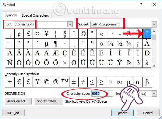 Chèn biểu tượng độ C trong Word, Excel như thế nào? - Quantrimang com