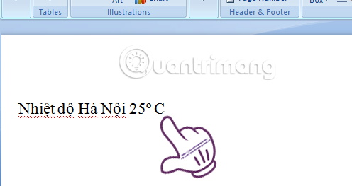 Chèn độ C trong Word, Excel?