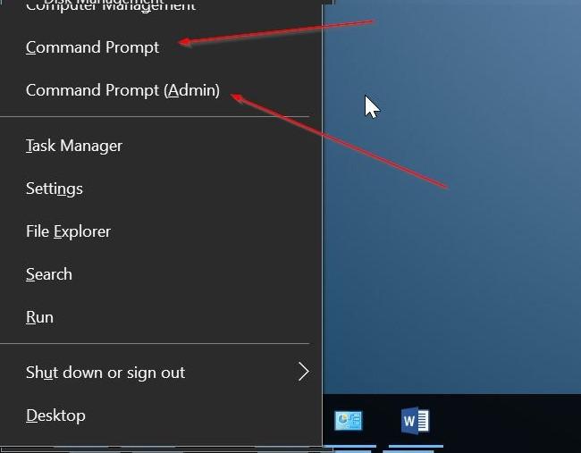 Thêm Command Prompt vào Power User Menu (menu Win X) trên Windows 10