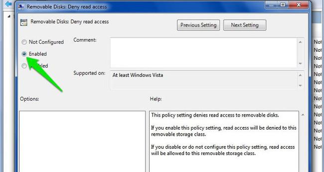 Trên cửa sổ Removable Disks: Deny read access