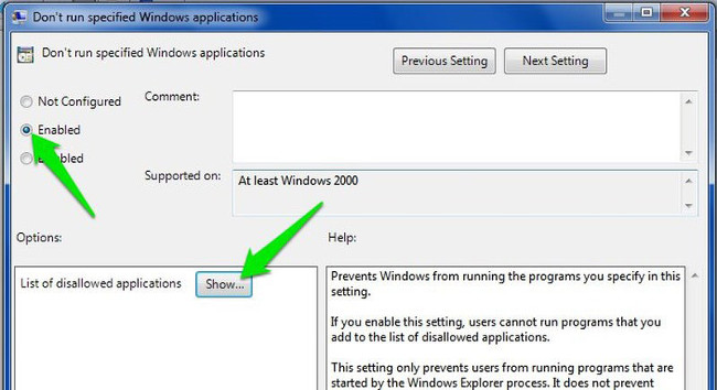 Trên cửa sổ Don't run specified Windows applications