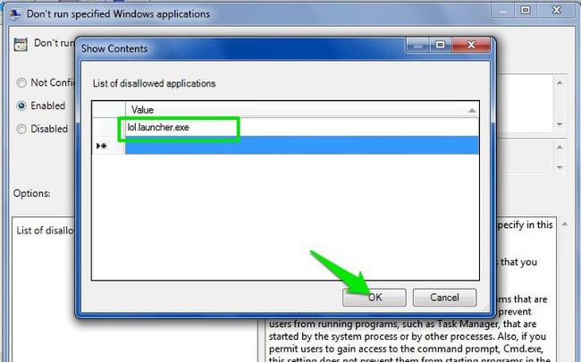 Nhập tên thực thi vào danh sách rồi click chọn OK để bắt đầu quá trình chặn ứng dụng.