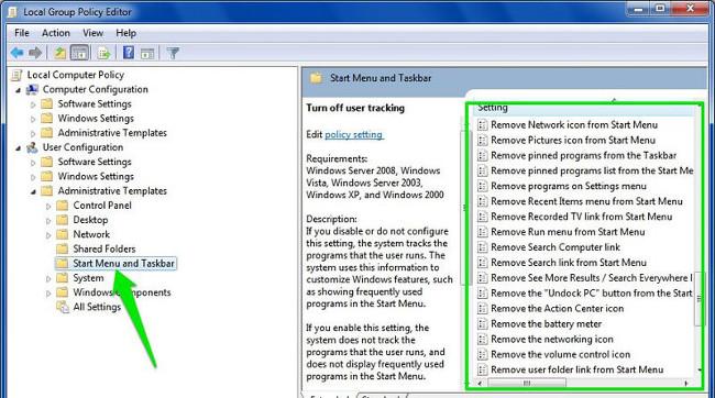 Tinh chỉnh Start Menu và thanh Taskbar