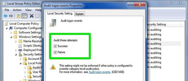 Audit logon events Properties