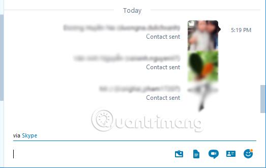 Cách gửi địa chỉ liên hệ trong cửa sổ chat Skype