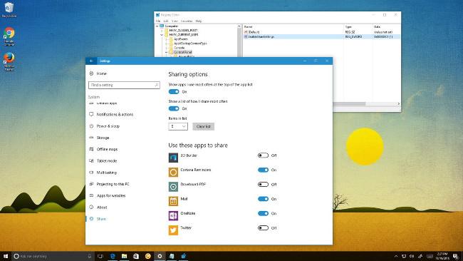 Kích hoạt mở trang cài đặt (Share page) ẩn trên ứng dụng Settings Windows 10