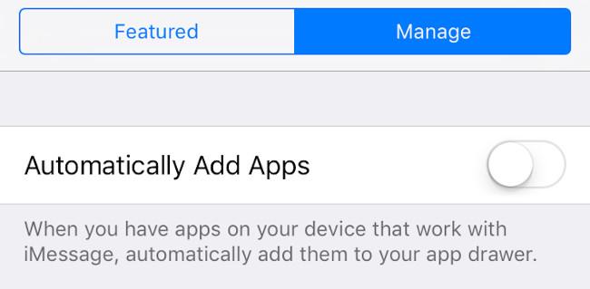 Ngăn ứng dụng tự động thêm vào Messages