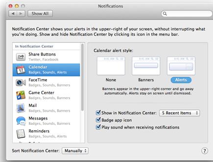 Thủ thuật sử dụng Notification Center trên OS X Mountain Lion