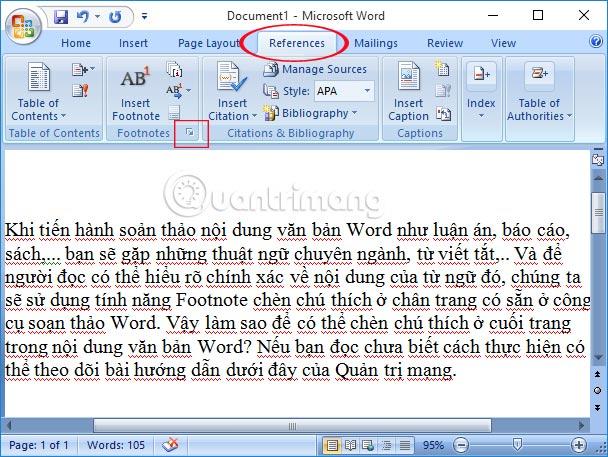 Chèn ghi chú ở chân trang trong Word