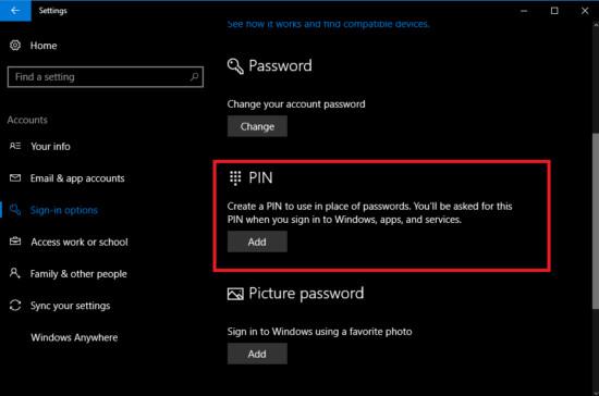 Sử dụng mã PIN để đăng nhập Windows 10