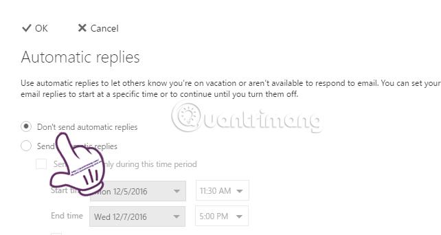 Cách thiết lập thư trả lời tự động trên webmail Outlook